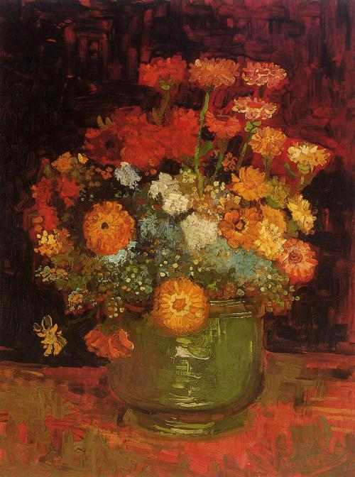 dappledwithshadow:  Vase with Zinnias - Van Gogh