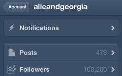 HOLY PANCAKES WE HIT 100,000 followers.  We love each and every one of you wonderful bitches. Also, we chatter directly with you on our Twitter, so let's also be friends there:  https://twitter.com/alieandgeorgia