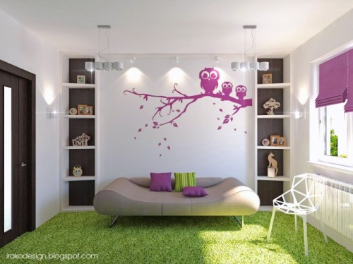 homedesigning:  (via Purple White Green Wenge Girls Room)