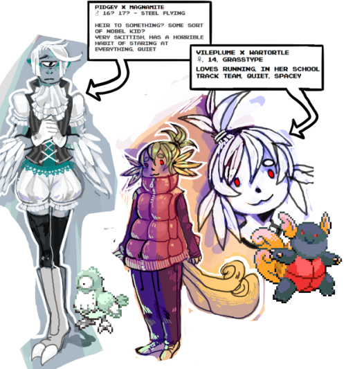 23deadbatteries:  pokemon fusion gijinkas? Pokemon fusion gijinkas. The viletortle(?)'s ears are made of leaves btw < w>