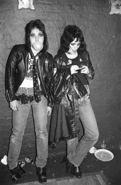 superseventies:  Joan Jett and Gaye Advert, London 1977. Photo by Roberta Bayley.