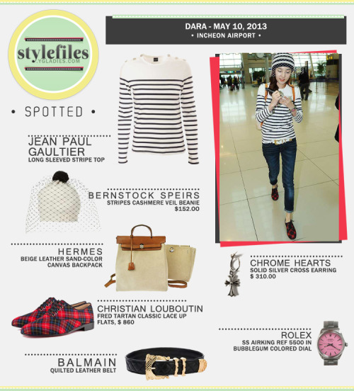 SPOTTED: Dara is Stepping Out of the Box with Unique Airport Fashion Back in the day, we knew Dara as the kind of girl who will just wear jeans, a white shirt, a Chrome Hearts hoodie and a pair of sneakers. She's basically a girl who treasures comfortability in her style. Years passed and, though she still loves comfort, our darling Dara is stepping out of the box and  experimenting her style. In her latest trip to Japan, via Incheon Airport, Dara strutted luxury brand pieces which made her chic and sleek-looking, but there's one part of her outfit that really caught our attention – Bernstock Speirs Veil Beanie (available at LOVEHATS.COM for $152.00).When Blackjacks asked why she wore such beanie, she answered that she just wanted to incorporate a 'May Bride' feel to her outfit. Luxury brands from head to toe. Yes, you saw that right. Dara's upperwear is Jean Paul Gaultier long sleeved top from the Fall-Winter 2012 womenswear collection (available at Hervia for £160.00 / $242.38USD). Besides the beanie, you may have noticed her flats. Let me give you guys some clue… it's a very famous footwear company that has red-lacquered soles. It's none other than Christian Louboutin – Fred Tartan Classic Lace Up Flats (originally $860USD, but sold out now). To finish the look Dara accessorizes with a pretty Hermes beige leather sand-color canvas backpack (Sold Out), Chrome Hearts solid silver cross earrings (available at Chrome Hearts for $310.00), Balmain quilted leather belt (Sold Out)  and lastly the lovely vintage Rolex SS Airking Watch in Bubblegum colored dial. Stepping out of the box isn't that bad, especially when you pair avante garde pieces like the Veil beanie with with more classic items. It may surprise you, but you could end up with a showstopping look that ain't bad at all. Fashion IDs & Collage by WILLA@ygladies.com Article by staff@ygladies.com