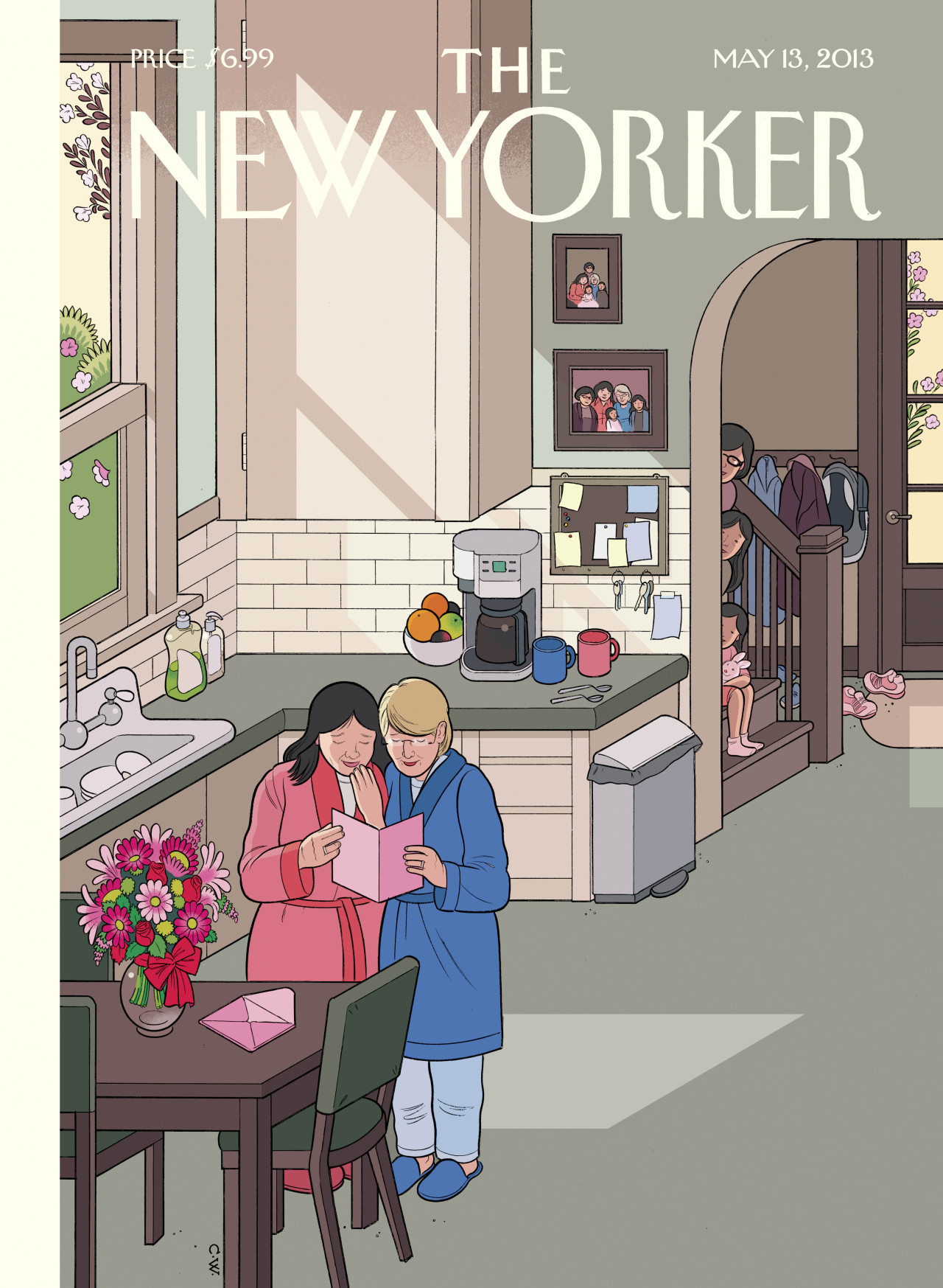 "newyorker:                In the spirit of openheartedness and what life is really all about, I'll go so far as to say that the fear of others may mask some deep-seated desire to understand, and maybe even to love. Because really, what is there to be afraid of? Few people today don't know—or have in their families—at least one loving couple who are raising children, same-sex or not. And it's really just the loving part that matters. That same-sex marriage could go from its preliminary draft of ""diagnosable"" to the final edit of ""so what?"" must indicate some positive evolution on the part of the larger human consciousness. My wife, being a biology teacher, puts it even more succinctly: ""Why are all these people so worried about who everybody else is sleeping with, anyway?"" (Score two for Moms.)               —Chris Ware on his cover of the May 13, 2013 issue, ""Mother's Day."" Get the story behind the cover: http://nyr.kr/10d7TyC  I un-""liked"" The New Yorker on Facebook after last week when the whole magazine was stuff by men (no ladies at all!), but I'll keep following them on Tumblr…"
