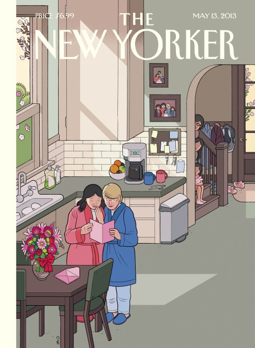 "newyorker:                In the spirit of openheartedness and what life is really all about, I'll go so far as to say that the fear of others may mask some deep-seated desire to understand, and maybe even to love. Because really, what is there to be afraid of? Few people today don't know—or have in their families—at least one loving couple who are raising children, same-sex or not. And it's really just the loving part that matters. That same-sex marriage could go from its preliminary draft of ""diagnosable"" to the final edit of ""so what?"" must indicate some positive evolution on the part of the larger human consciousness. My wife, being a biology teacher, puts it even more succinctly: ""Why are all these people so worried about who everybody else is sleeping with, anyway?"" (Score two for Moms.)               —Chris Ware on his cover of the May 13, 2013 issue, ""Mother's Day."" Get the story behind the cover: http://nyr.kr/10d7TyC"