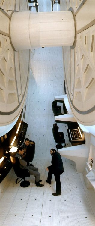melolagniaissues:  Kubrick on the spaceship set of '2001: A Space Odyssey'