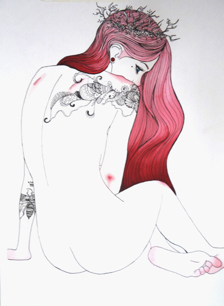 eatsleepdraw:  Pink hair leaf crown | Nankin and Watercolor (42 x 29,7 cm)