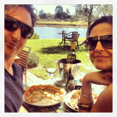Mudgee. April 2013. DiLusso winery. Pizza w/Gorgonzola & Fig & prosciutto is outstanding!  (at di Lusso Estate)