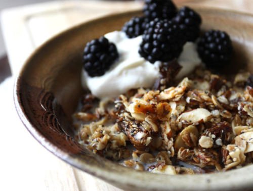Fig and Almond Muesli with Yogurt and Blackberries