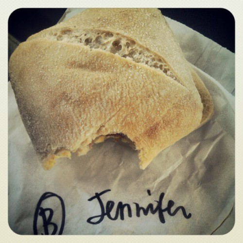Mmm it's a good sandwich #Starbucks, but #barista, you crossed my J. You do not win.