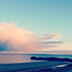 Pink cloud!!! #shippan #love #pink #beach #ocean #cloud #sunset
