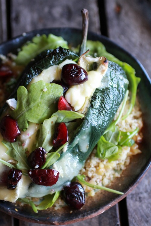 roasted cherry couscous and brie stuffed poblano peppers recipe