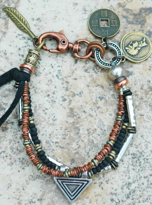 Custom Men's Charm Bracelet: Silver, Copper, Black and Leather Charm Bracelet Purchase here