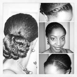 Simple protective style for tonight's Epiphany concert: #flattwists across the front and a twisted bun at the back. Easy and Elegant, iLove. #naturalhair #protectivestyling #bun #