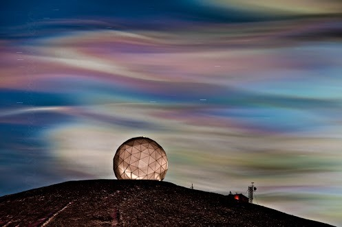 odditiesoflife:  Nacreous Clouds Also called polar stratospheric clouds or mother of pearl clouds, nacreous clouds are mostly visible within two hours after sunset or before dawn. They blaze unbelievably bright with vivid, iridescent colors. These clouds are rare and occur in the polar stratosphere at altitudes of 15,000–25,000 meters. They are so bright because at those heights, they are still sunlit. Although incredibly beautiful, they have a negative impact on our atmosphere. They create ozone holes by supporting chemical reactions that produce active chlorine which catalyzes ozone destruction.
