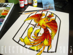 "Better shot of the phoenix I did for my sister's business cards. Neither of us like how the ""bird cage"" came out so photoshop to the rescue, I'll be changing that."