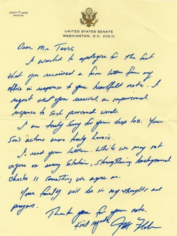 think-progress:  In this letter, Senator Jeff Flake told shooting victim's mother he supported background checks. Then he voted against them.