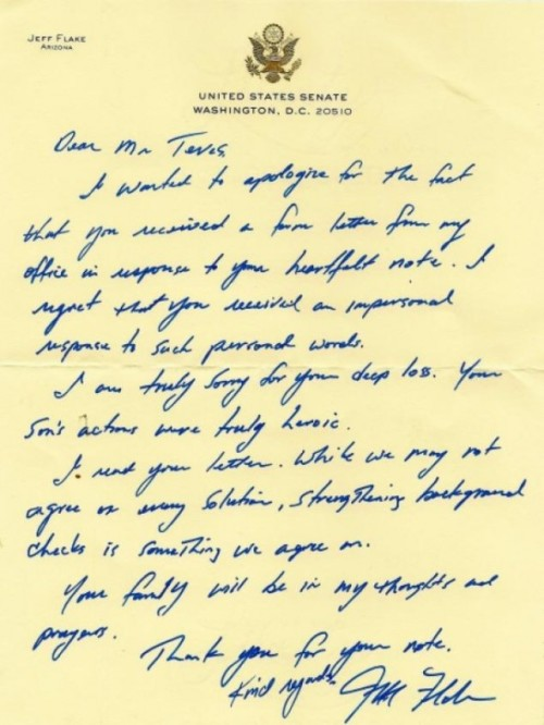 In this letter, Senator Jeff Flake told shooting victim's mother he supported background checks. Then he voted against them.