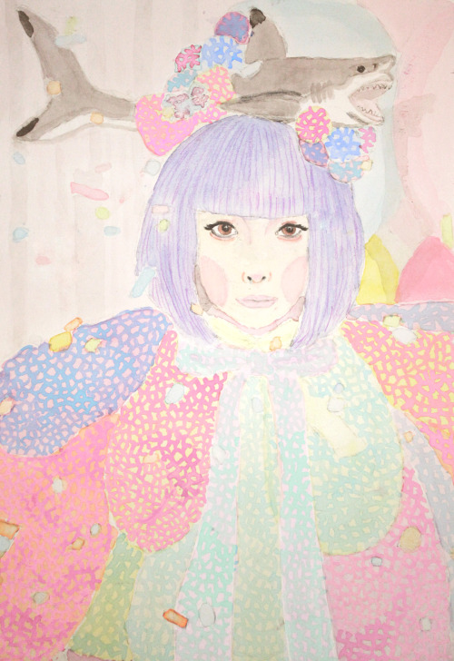 Submission from icecreamkawaiilove:  my attempt drawing kyary with watercolor.  It looks great! Thank you~ ^^
