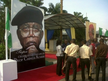 saharareporters:  Prof. Chinua Achebe's Body Arrives In Nigeria The body of late Nigerian author, Chinua Achebe arrived in Nigeria earlier today in Abuja. Prof. Achebe's body arrived in a Nigerian flag-draped casket which was received at the airport by Nigerian officials led by the Secretary to the federal government. READ MORE…