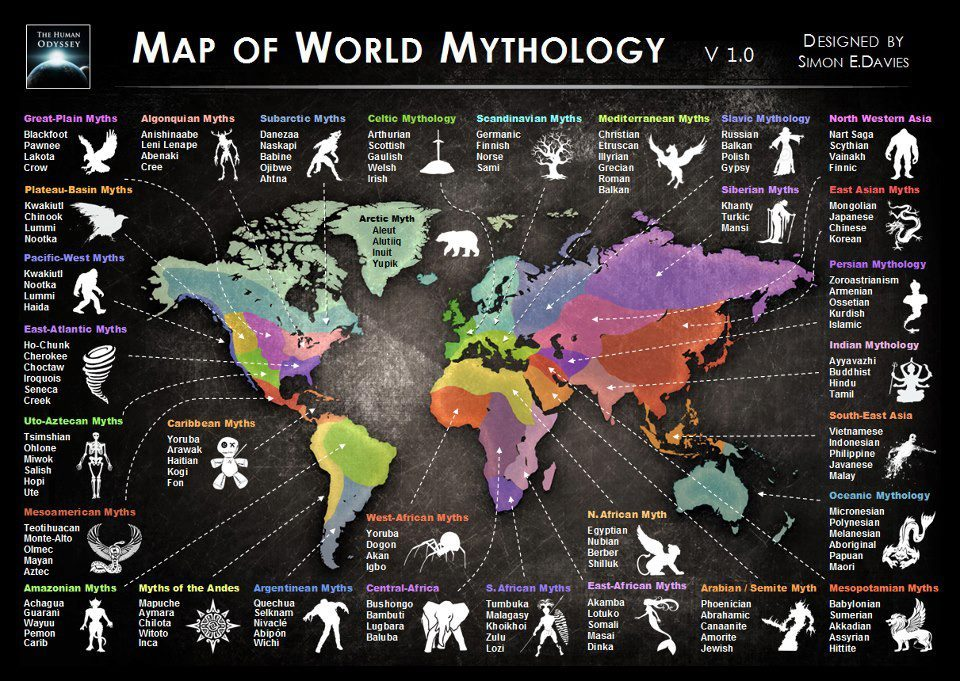 time-for-maps:  Major Mythological Traditions of the World