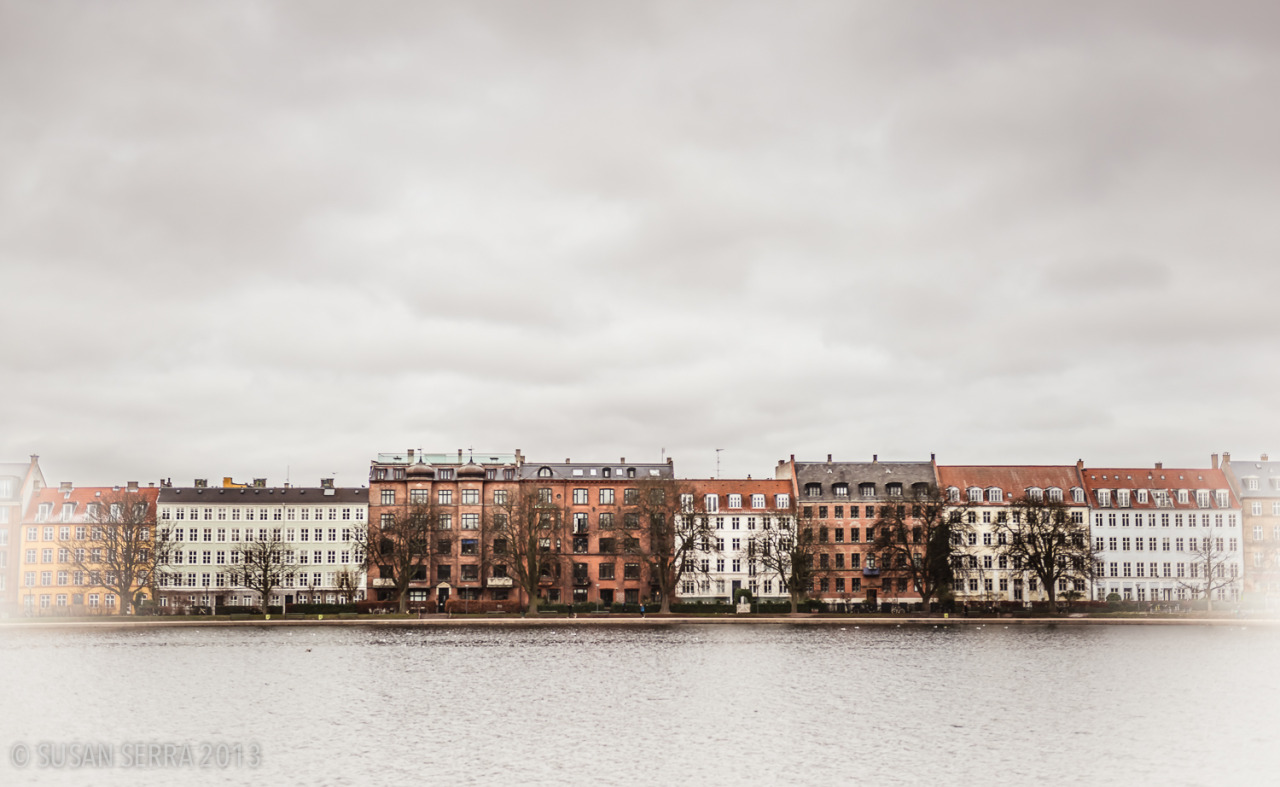 A dreamy, classic, elegant row of beautiful architecture in Copenhagen. A lovely city view.