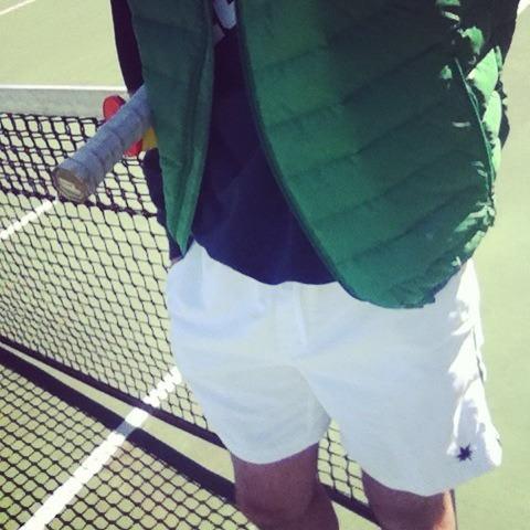 My second day of Spring: practicing my serve. Brutal.