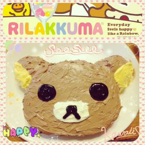 Yesterday was my birthday and I made a Chocolate flavored Rilakuma cake. 🎂🎂