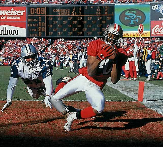 SI is counting down the 10 best players to ever wear a 49ers uniform and Jerry Rice is ranked No. 1. The Hall of Fame receiver was drafted by San Francisco in 1985 and went on to spend 16 years with the franchise. After a solid rookie season, 1986 marked his first of 11 straight seasons with over 1,000 yards. He holds several receiving records including 1,549 receptions, 22,895 yards and his 20 seasons played are more than any other NFL wide receiver in history. (Peter Read Miller/SI) GALLERY: Top 10 San Francisco 49ers of All Time