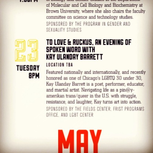 [to love & ruckus: an evening of #spokenword with Kay Ulanday Barrett at #Princeton university. y'know, last week was nikky finney and this week features me! that's some intense, ish yo. #qtpoc #kaybarrettnet #transgender #performance]