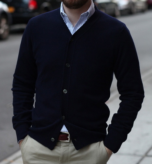 maletrends:     A simple, discreet, navy blue cardigan with chinos and a shirt. MALE TRENDS A blog about men's fashion, lifestyle & more.