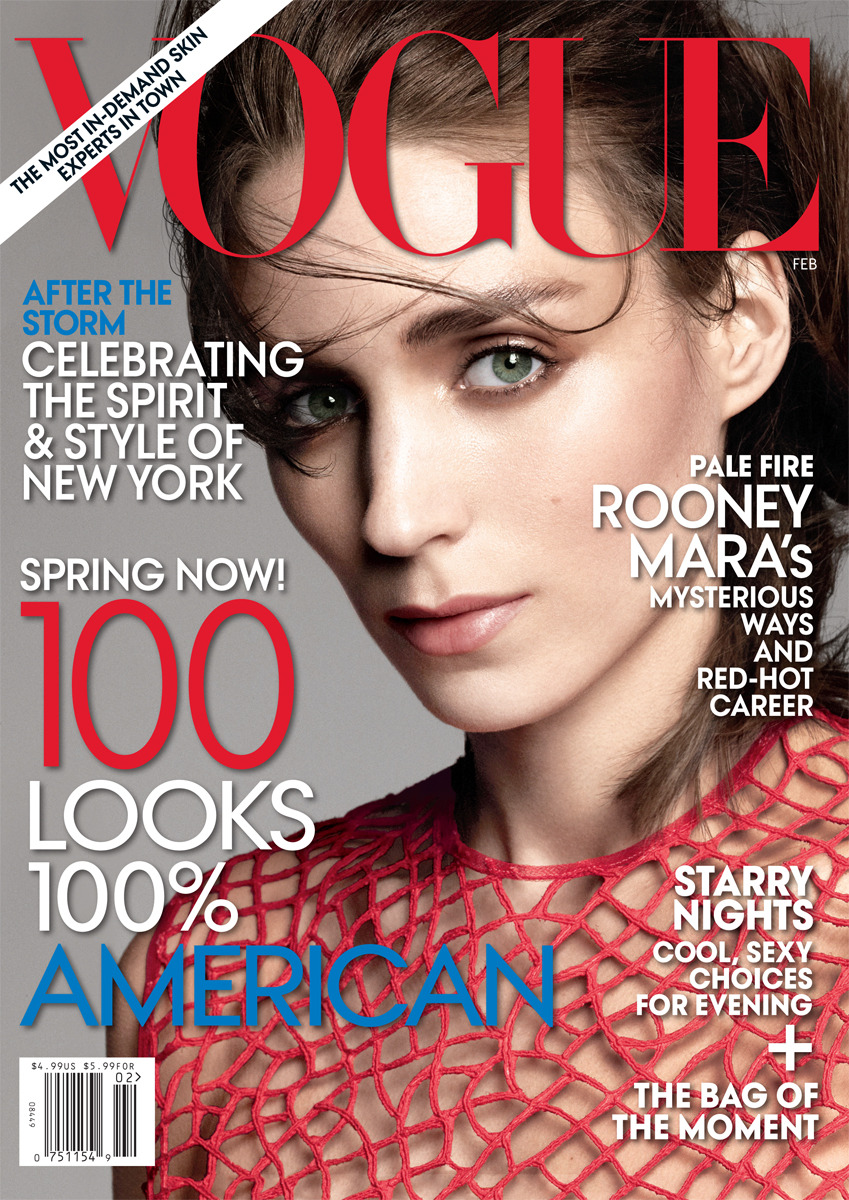 hfgl:   bohemea:   Rooney Mara - Vogue by David Sims, February 2013 This is such a fresh clean cover. Rooney looks like a lovely retro 80s model & having David Sims photograph her is a lovely change from the usual. Just gorgeous!   Omg, amazing, greeaat coverf!