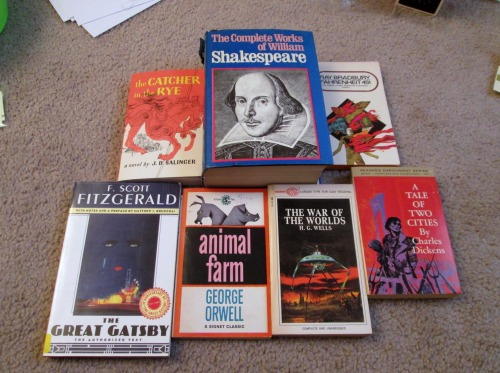 etsyliteraryjewels:  I got all of these books (with the exception of the Catcher in the Rye) for under 5 bucks! Can you say lucky?!