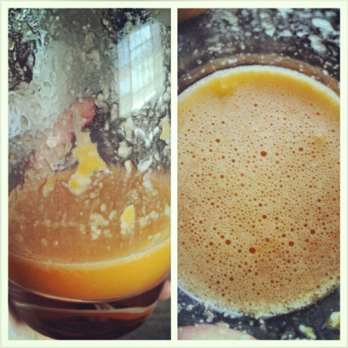 #Carrotjuice, one #banana, two #tangerines and a tiny bit of #almondmilk. #food #healthy #cleaneating