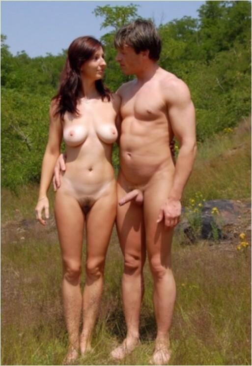 Mature nudist couple erections