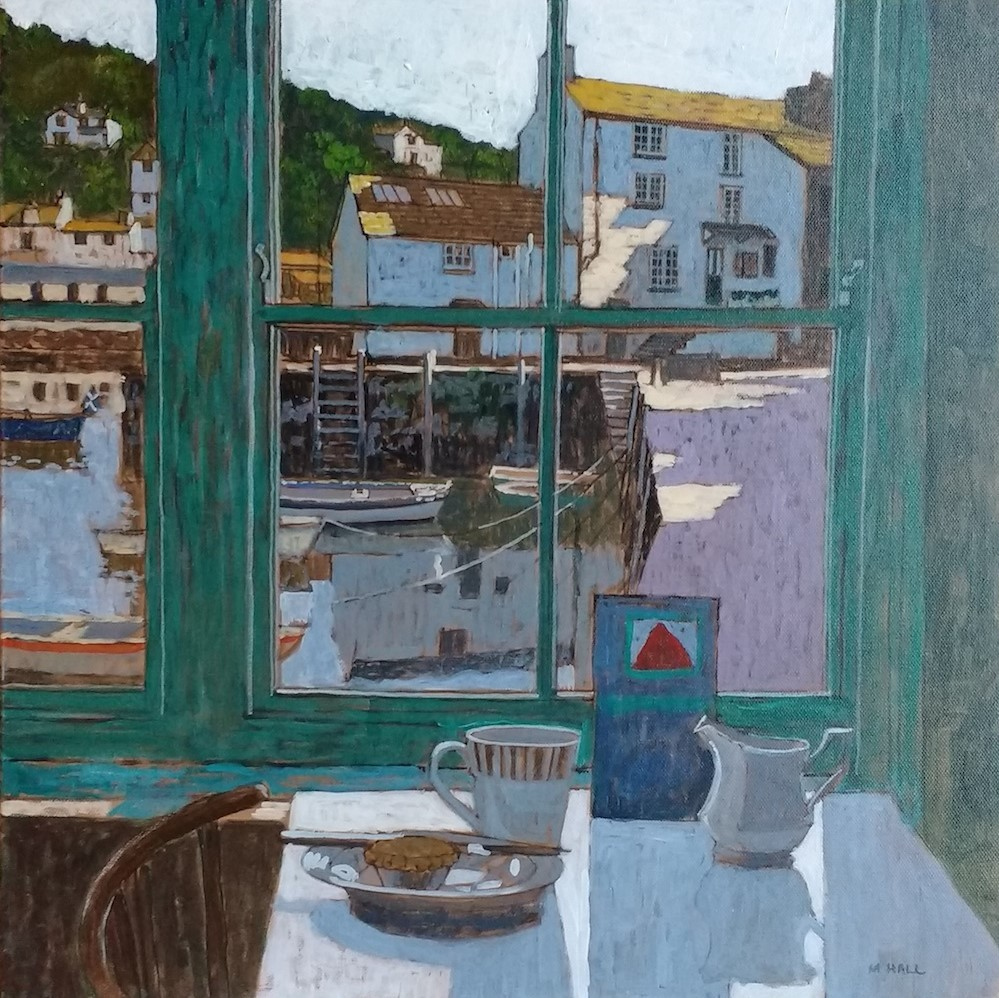 Mike Hall, View of Quay from Cafe, 2018, Acrylic on board