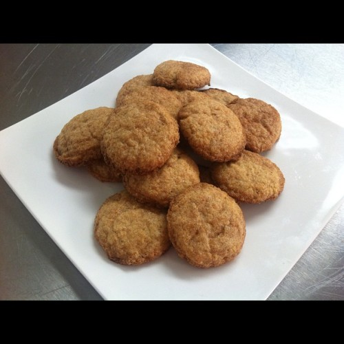 Snickerdoodles!!! Vegan too! And yummy!!! You'll Need  1 ¾ cup all-purpose flour ¼ cup cornstarch 1 tsp. baking powder 1 stick (4 oz.) earth balance butter - sick ¾ cup sugar ¼ cup vanilla almond milk 1 tsp. vanilla extract  Cinnamon Sugar ½ cup sugar 3 Tbs. ground cinnamon   Now What  Wisk flour, cornstarch, and baking powder in bowl Beat together earth balance and sugar until smooth Beat in almond milk and van extract until smooth Add dry ingredients. Beat until smooth Roll in little balls. Cover in cinnamon and sugar (combined) Place on baking sheet Bake at 350 for 15-20 minutes Enjoy!