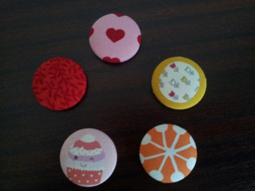 Cute fabric covered button magnets I made for my friends Birthday :)