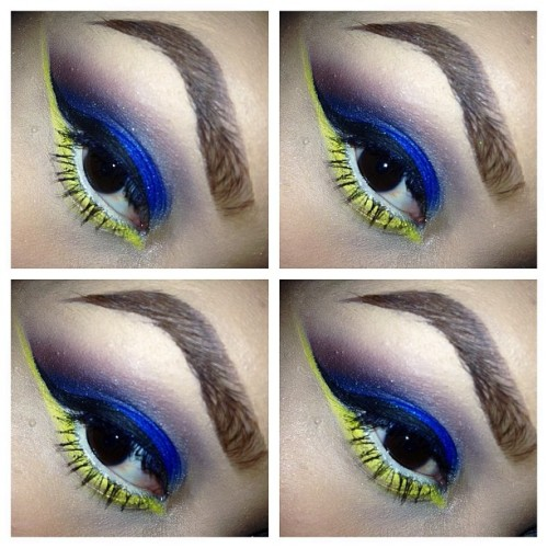 happimess:  #EOTD inspired by the Wrestlemania logo this year. 💙💛 excuse my brows, currently growing them to change my shape 🙈