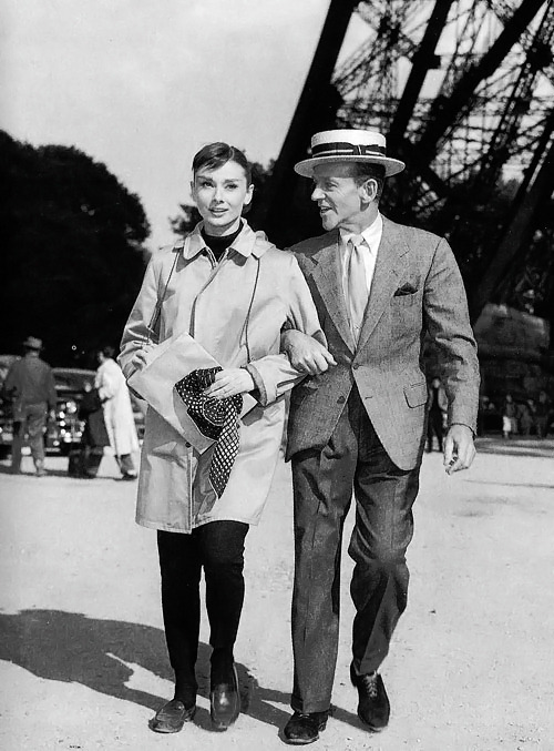 Audrey Hepburn and Fred Astaire in Paris for the production of Funny Face, 1956.