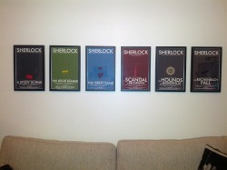 From a BIG Sherlock fan. Check out their display of all six of our Sherlock-inspired episode posters. Each design from series one and two are there, framed and looking gorgeous!