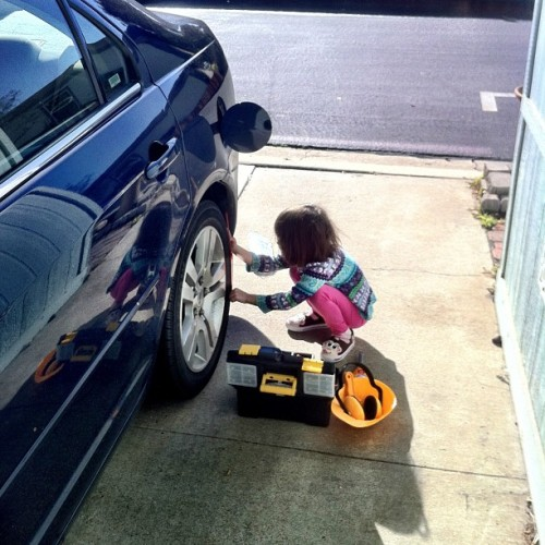 My little #mechanic helping me out. I had to use a cut off wheel for a little bit so she went and worked on our other car. Too #cute to not take a pic. Love it when she helps me. —————————————————- ————————————————— #daughter #daddydaughtertime #fun  #ford #modela #model_a #hotrod #ratrod #car #chevy #project #rust #rusty #patina #metal #iphonesia #iphoneonly #jj #jj_forum #iger #1928 #28 #classic #coupe #igerssandiego #sandiego #poway
