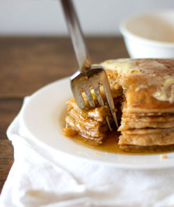 yummyinmytumbly:  Whole Wheat Pancakes for Two