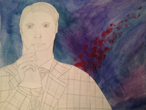 """Hannibal"" Portrait One, ""Having an Old Friend for Dinner"" I know I don't really go on tumblr anymore but I wanted to share my art with all the tumblrites This is the first in a series of portraits I'm making of characters from NBC's ""Hannibal."" It's a sketch with pencil mounted on a watercolor background. Even though the nose is awkward as fuck (I'm not good with drawing noses) I like the way this came out overall."