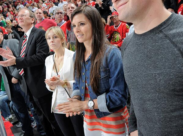 "Danica Patrick - .@DanicaPatrick is in the house tonight, and she's going to play ""Shoot the Puck"" i"