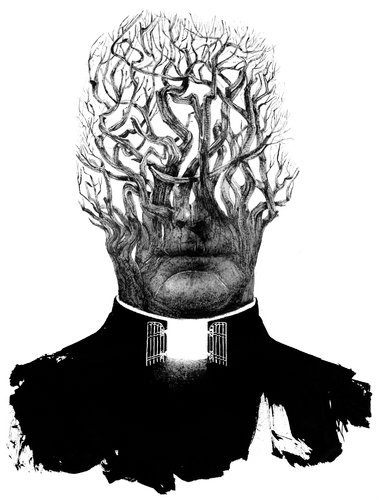 "Image of the Day: Sam Weber's sinister illustration for ""The Priest That Preyed"" in today's New York Times."