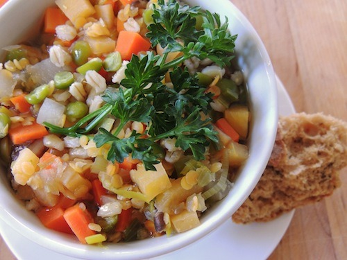 Stuck in the winter doldrums? Try this Scotch Broth by Laura of Peaches and Greens! It's a traditionally meaty Scottish recipe veganized to be full of vegetables, legumes, and grains, and it'll certainly brighten up your kitchen.
