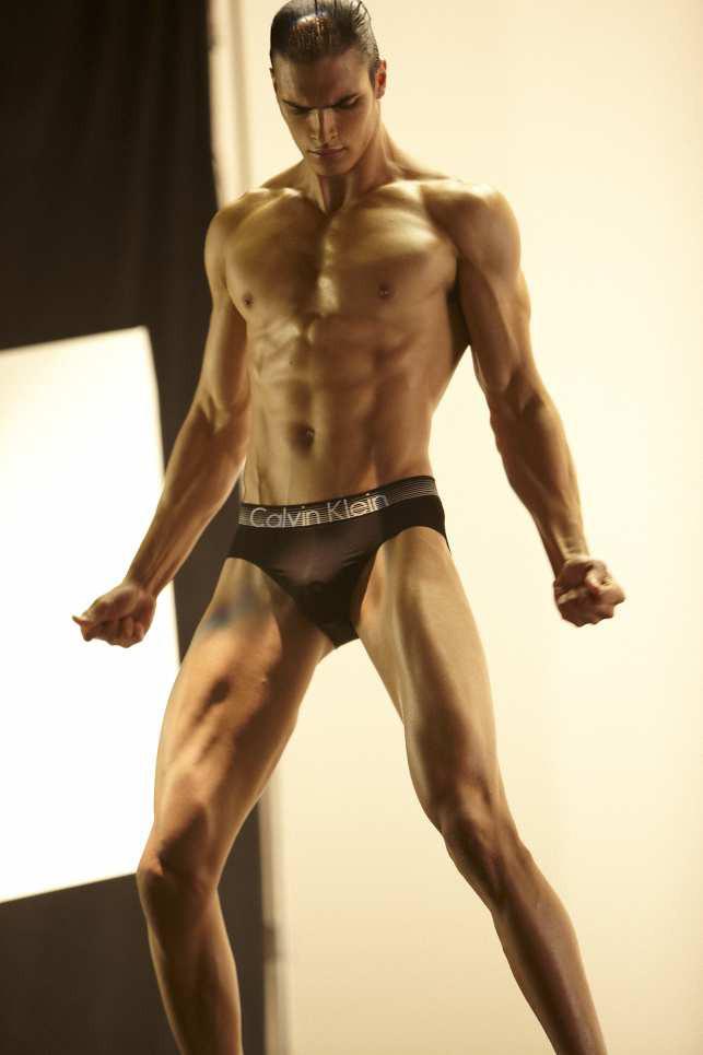 Matt Terry on set for the Calvin Klein Concept photo shoot.