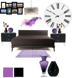 Purple Rain door rebelleshevanny op PolyvoreDe La Espada 367 McQueen Bed / Purple Shag Rug 8' x 10' / Chelsom Silver Sculpture Pendant, $2,550 / OKA Mercer Bedside Chest of Drawers, $1,070 / Purple and Clear Glass Clementine Vase / Missoni Home Gomitolo Vase Small - 49, $355 / Rosendahl Timepieces Rosendahl - AJ Roman Wall Clock, $255 / Jess Wainer Teardrop Vase / Menu Design Menu - Creamware Vase Organic, $52 / Rubix 8 Picture Multi Wall Frame, $60