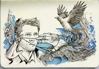 A fan art of Misha Collins as Castiel + some doodles that don't make any sense :) Copic markers + Copic multiliners