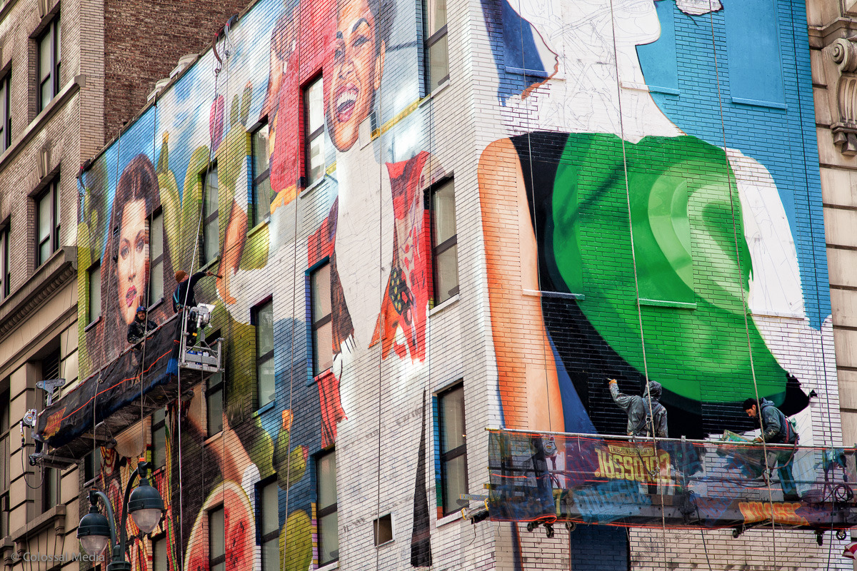 Right now we're painting this wall for Desigual in NYC's Herald Sqaure— you can see day by day progress on our Facebook page.